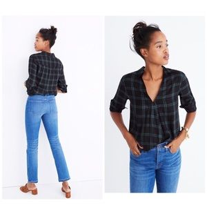 Madewell | Green & Black Plaid Blouse